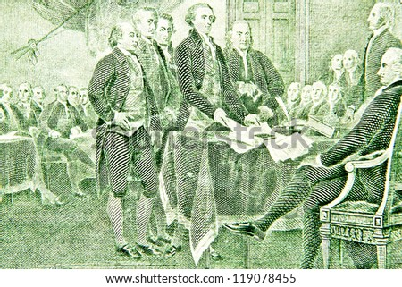 Declaration of independence from the two dollar bill - stock photo