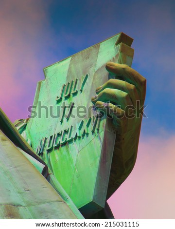 Declaration of Independence of the United States. Close up of the Statue of Liberty - stock photo