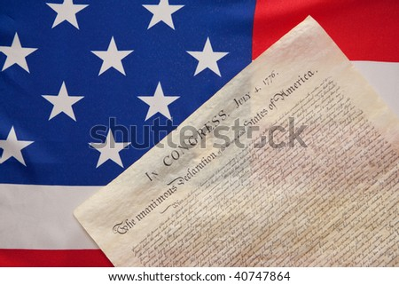 declaration of independence on ensign of the USA