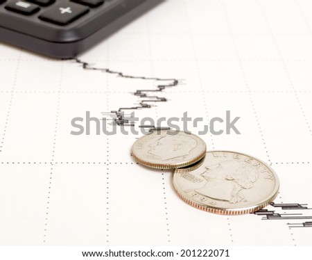 Decline in yield and general condition of the economy. - stock photo