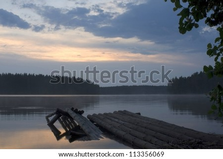 Decline on lake - stock photo