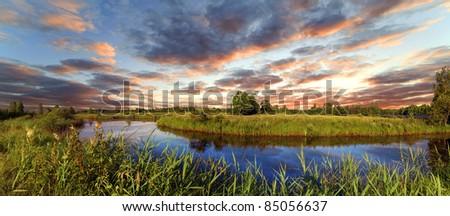 Decline over the river Berezina, Belarus - stock photo