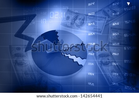 Declining arrow shows economic crisis and business fall. pie chart, abstract business background - stock photo