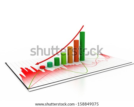 Declining bar chart with arrow 3D render of falling bar chart - stock photo
