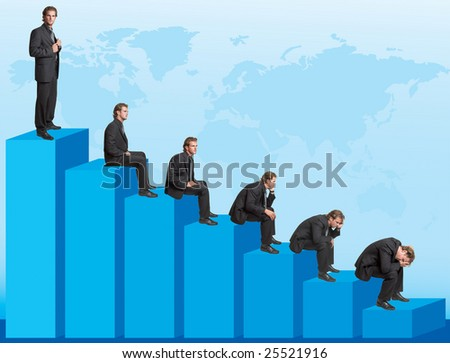Declining chart - successful businessman turning into troubles - stock photo
