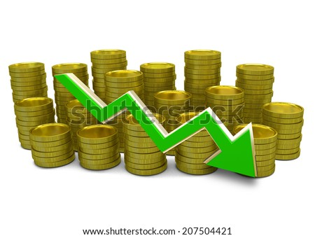 declining costs - 3D finance graph - currency and declining green arrow - stock photo