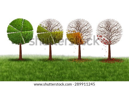 Declining market share concept as a group of trees shaped as a pie chart gradually losing leaves as a financial crisis symbol and investment loss icon on a white background. - stock photo