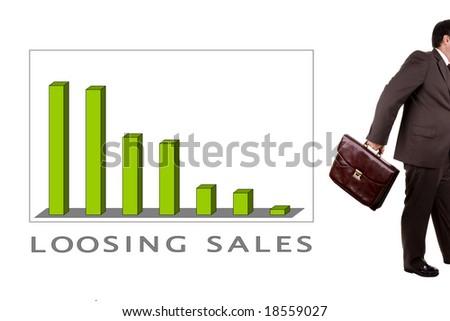 declining profit chart - loosing sales - stock photo