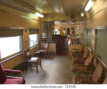 Deco interior of the bar car of and old train.