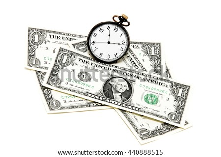 decomposed dollars from tarymi clock from above isolated - stock photo