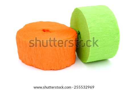 Decor on crepe streamer rolls - stock photo