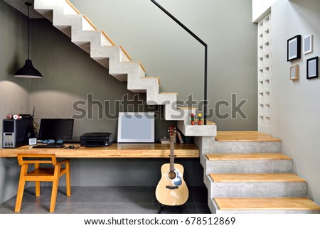 Decorate The Loft Style Staircase With A Desk Placed Below.