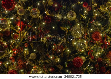 Decorated and illuminated christmas and new year background - stock photo