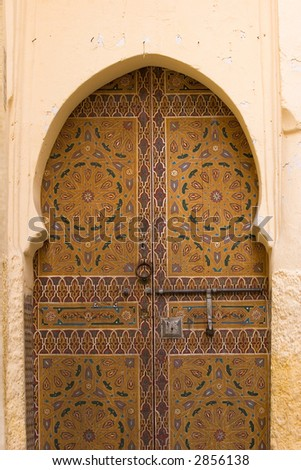 decorated arabic door - stock photo
