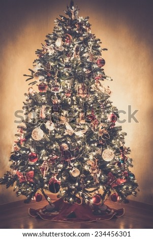 Decorated beautiful Christmas tree - stock photo