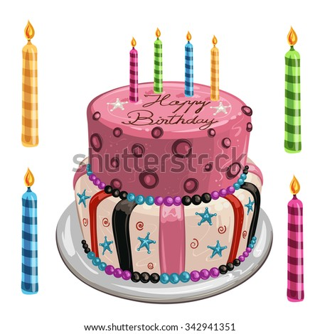 Decorated birthday cake - stock photo