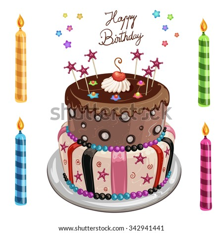 Decorated birthday cake and four colorful candles - stock photo