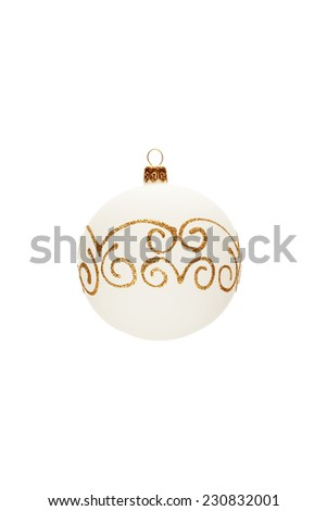 Decorated Christmas ball isolated on white background - stock photo