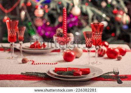 decorated christmas dining table - stock photo