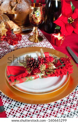 Decorated Christmas Dinner Table with studio lighting - stock photo