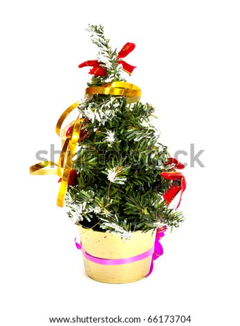 Decorated christmas fir tree isolated on white - stock photo