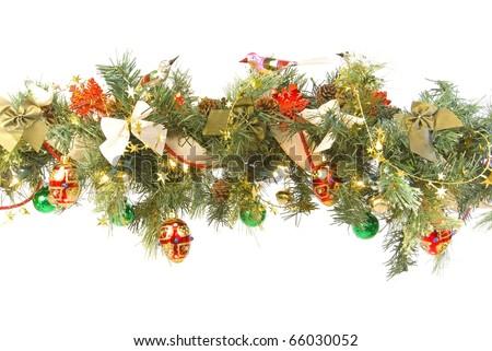 Decorated Christmas Garland - stock photo