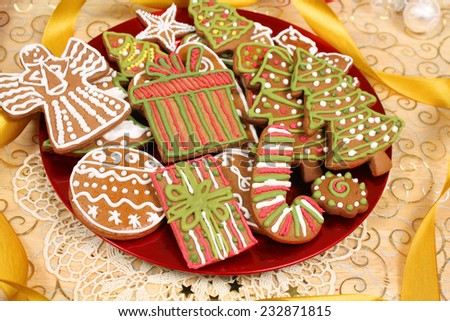 Decorated Christmas gingerbread cookies - stock photo