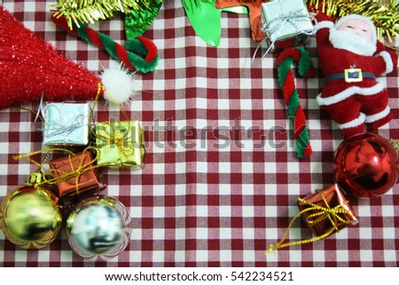 Decorated Christmas on red cloth background