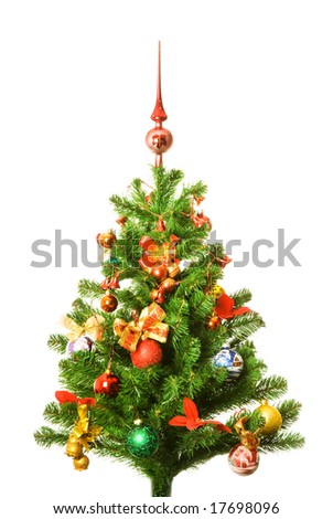 Decorated Christmas-tree - stock photo