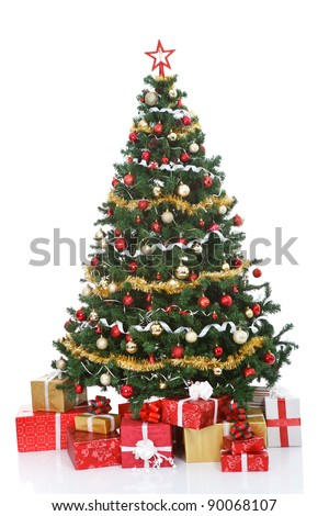 decorated Christmas tree and gift boxes, isolated on  white background - stock photo