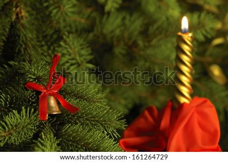 decorated Christmas tree close up - stock photo