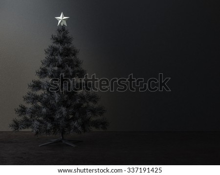 Decorated christmas tree in dark  room - stock photo