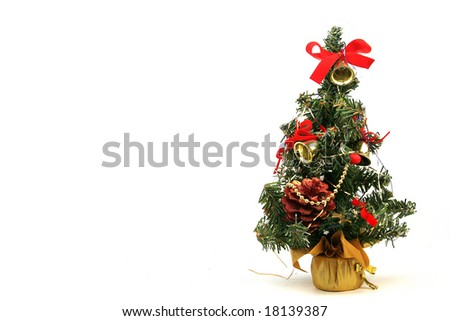Decorated christmas tree isolated - stock photo