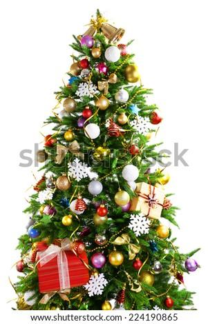 Decorated Christmas tree isolated on white - stock photo