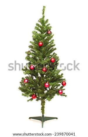 Decorated Christmas tree isolated on white background - stock photo