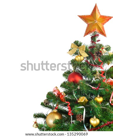 decorated Christmas tree on white background - stock photo
