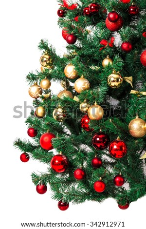 Decorated Christmas tree on white background - stock photo