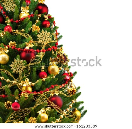 Decorated Christmas tree on white background, card template