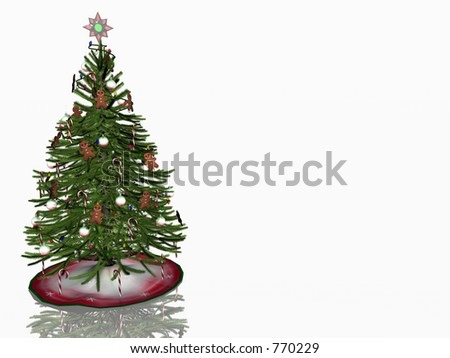 Decorated christmas tree over white on reflective surface.  3D illustration.