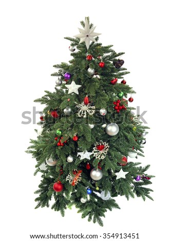 decorated Christmas tree view from above isolated on white background - stock photo