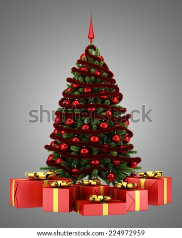 decorated christmas tree with gift boxes isolated on gray background
