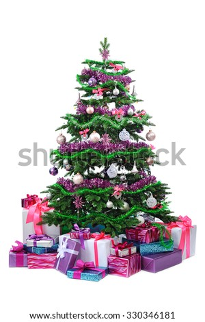 decorated Christmas tree with gifts isolated on white background - stock photo