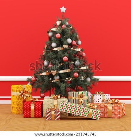 Decorated Christmas tree with gifts on red background - 3D Render