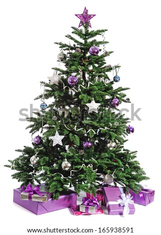 decorated Christmas tree with gifts on white background - stock photo