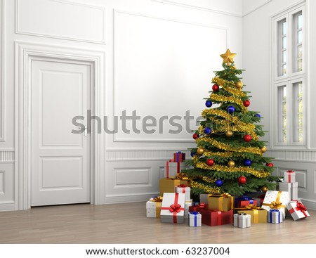 decorated christmas tree with lots of presents in an empty white classic room with copy spade on the left - stock photo