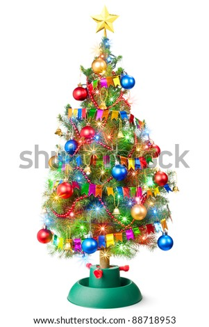 Decorated Christmas tree with luminous garland. Isolated on a white.