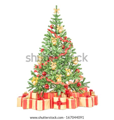 Decorated Christmas tree with many gift boxes isolated on white background - stock photo