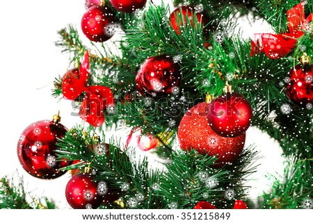 Decorated Christmas tree with stars and snow - stock photo