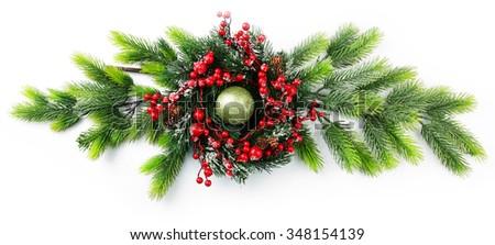 Decorated Christmas wreath on white background - stock photo