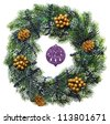 Decorated Christmas wreath with cones and beads, isolated on white - stock photo